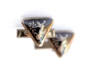 Neilo Cuff links & Tie Clip Siam Sterling Silver