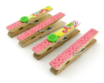 Decorative Clothespin Magnets, Set of 4, Magnetic Clips, Refrigerator, Magnet Clips, Strong Magnets, Buttons, Pink, Yellow, Green, Coral