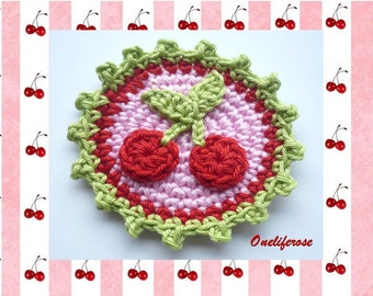 Crochet Cherry Badge ,Patches Application