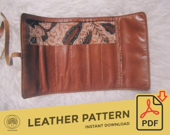 Leather Pencil Roll Case \\ Template Pattern PDF \\ Leather Crafting \\ PDF Pattern \\ Leathercraft Pattern \\ Leather Pattern \ DIY pattern