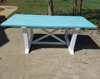 Two Tone X Support Farmhouse Table