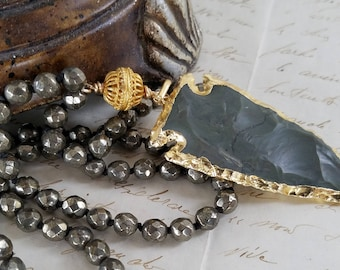 Electroplated Jasper Arrowhead Necklace Iron Pyrite Necklace Bohemian Gemstone Necklace Hand Knotted Boho Chic by LizzieTishBoutique