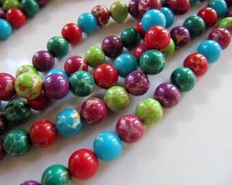 "6mm Aqua Terra ""Jasper"" Beads, 1 Strand, 65 Beads, Round Smooth, Dyed, Soft Onyx Marble, Regalite, Impression Jasper"