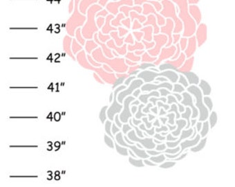 ON SALE Personalized Pink Gray Dahlia Flowers Canvas Growth Chart