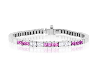 3.40 CT Natural Diamond & Pink Sapphire Fancy Bracelet in Solid 18k White Gold