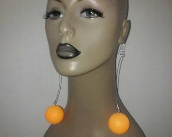 Cute Plastic Orange Ballies Earrings, Womens Earrings, Large Earrings, Womens Jewelry, Long Earrings, Dangling Earrings