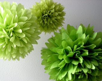 Spring Green tissue paper pompoms chartreuse greenery tropical luau birthday party decorations wedding aisle arbor marker baby bridal shower