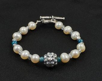 Flower Girl Freshwater Pearl, Apatite Blue Aqua Gemstone and Crystal Bracelet with Rhinestone Focal Bead - Petite XS Size **CLEARANCE SALE**
