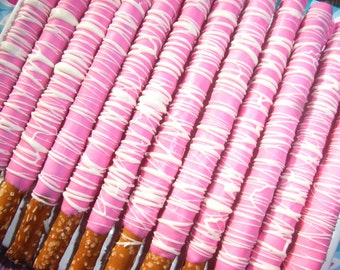 Gourmet Chocolate Covered Pretzel Rods - with Pink with White Stripes