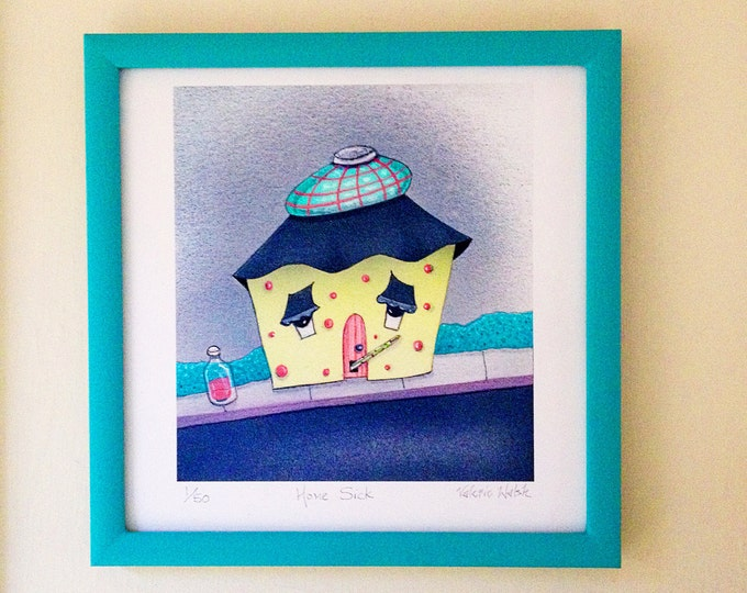HOME SICK Framed Art Print | Home Sick Travel Painting | House Warming Wall Art | Get Well Soon Print | Valerie Walsh Artwork | 8x8