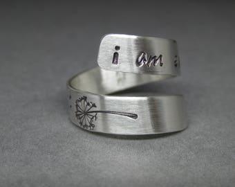 Sterling silver - Dandelions - I am enough - self esteem - mental health - wish ring - silver wrap ring - adjustable silver ring