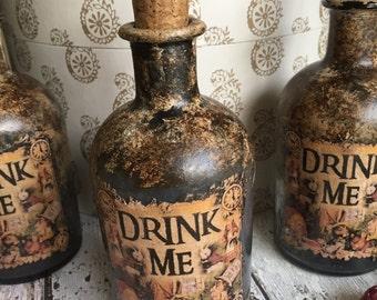 Steampunk Bottle. Gothic Bottle. Goth. Steampunk Alice in Wonderland Bottle. Drink Me Bottle. Gothic Home Decor. Alice in Wonderland Decor.
