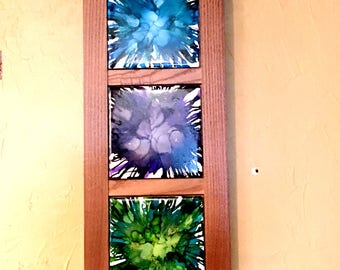 Wall Decor, Painted Decor, Wall Hanging, Alcohol Ink Decor, Framed Decor, Colorful Decor, Home Decor