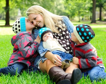 make your own Polka Dot Spots Hat & Cowl (DIGITAL KNITTING PATTERN) baby toddler child tween teen adult