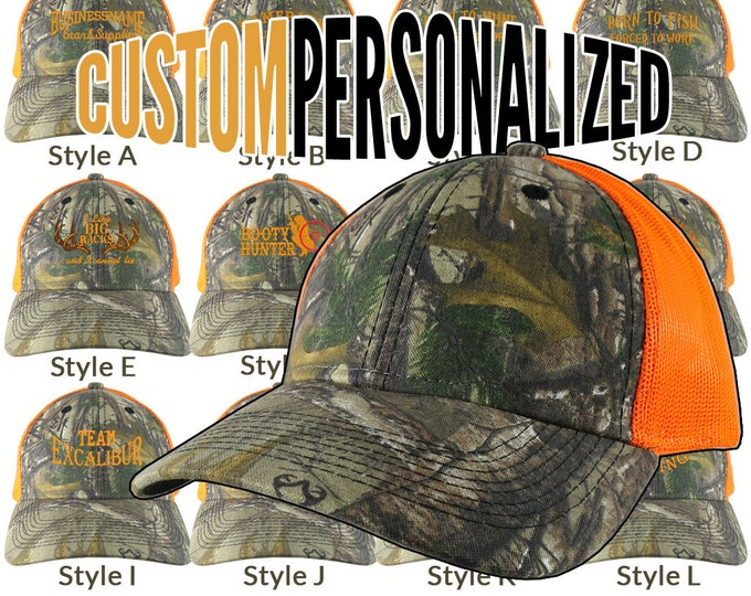Featured listing image: Custom Personalized Safety Orange Embroidery on an Adjustable Realtree Camo Safety Orange Trucker Cap Your Choice  16 Front Decors Hunt Fish