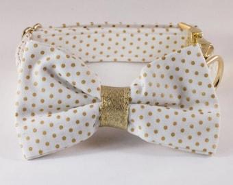 White and Gold Polka Dot Bow Tie Dog Collar, Bowtie Dog Collar, Preppy Dog Collar, Holiday, New Year's Eve, Christmas