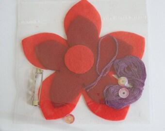 RED FELT FLOWER BROOCH KIT