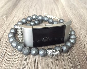 Hematite Bracelet for Fitbit Charge 2 Handmade Silver Skull Matte Fitbit Charge 2 Band Fashion Double Wrap Jewelry Protective Bracelet