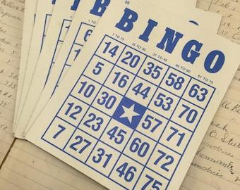 Vintage blue cardboard Bingo Cards - set of 5 - bingo game pieces - wedding bingo - retro bingo