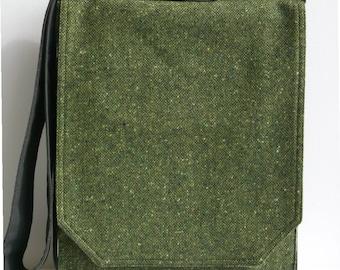 Green Tweed Wool Messenger Bag
