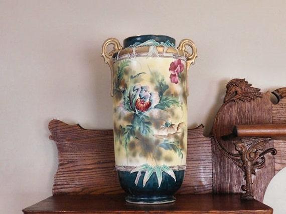MONUMENTAL Nippon Moriage Floor Vase /  Double Handle Umbrella Stand
