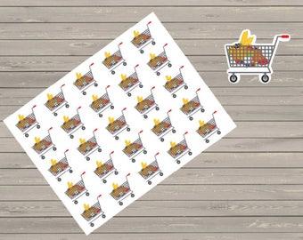 Planner Stickers, Shopping cart stickers, Fits Erin Condren, Reminder Stickers, Happy Planner