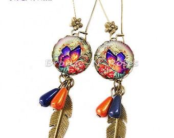 "Earrings ""Sublime"" papillon""orange fantasy glass cabochon bronze jewelry"