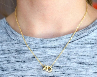 14K Gold Fill XO Letter Pendant on a 24K Gold Plated Chain