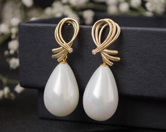 White earrings Long white earrings White pearl earrings Shell pearl earrings Silver stud earrings Silver post earrings Gemstone earrings