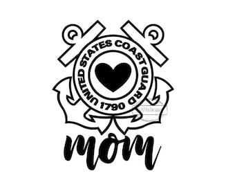 Coast Guard Mom Decal United States Coast Guard US Military Mom USCG Mom Heart Anchors