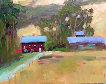 California Plein Air Artist Original Oil Painting Landscape Beach Home Farmhouse Wall Decor Shabby Cottage Chic Wall Art BODEGA BAY FARM