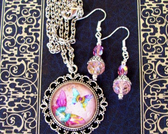 CLEARANCE SALE - Jewelry Set (S603) Necklace and Earrings, Butterfly Graphic Under Glass Pendant,  Crystal Dangles, Silver, Pink & Baby Blue