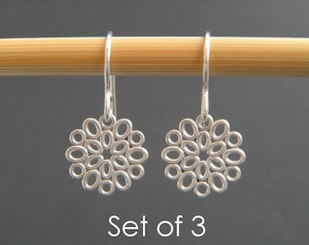 bridesmaid gifts. SET OF 3. small silver filigree oval earrings. sterling silver dangle. flower drop. bridal earrings. wedding jewelry. 1/2""