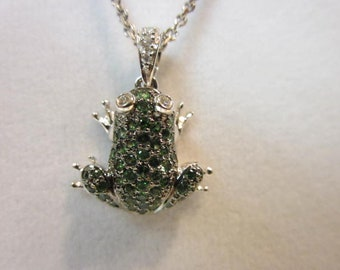 Rare Green Garnets, Diamonds and White Gold Frog Pendant Necklace.
