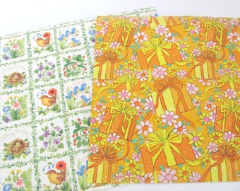 Vintage Wrapping Paper, 1970's Birthday Gift Wrap Lot, Vintage Birthday Paper, Mod Orange, Bluebird Paper
