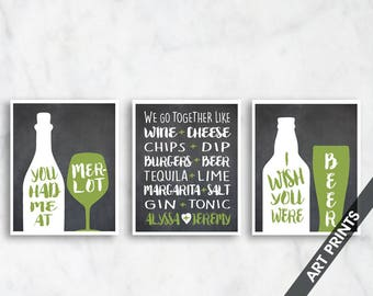 We Go Together Like (Personalize Couple Names) Set of 3 - Art Print (Featured in Vintage Chalkboard and Avocado) Funny Couple Alcohol Prints