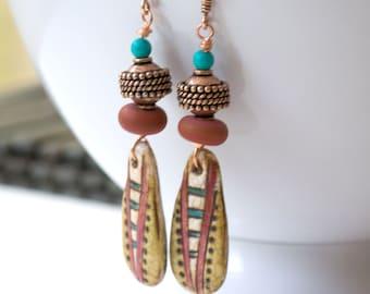 Ethnic Earrings, Polymer Clay Earrings, Long Earrings, Boho-Chic Earrings, Lampwork Earrings, Unique Artisan Earrings