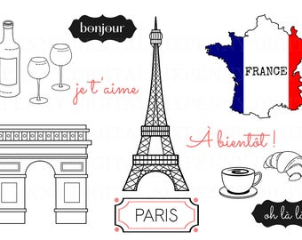 Paris Clipart Eiffel Tower Clipart Arc de Triomphe France French Flag Map Croissant Coffee Wine Glasses French Phrases