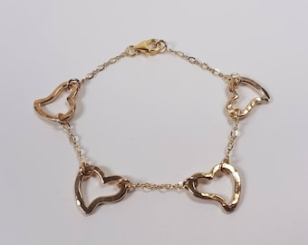 New Collection. 25% Off. Romantic handmade gold-fill Open Heart bracelet. Free shipping