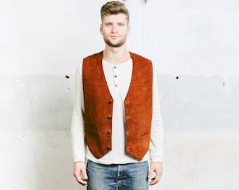 Brown Suede Vest . Indiana Jones Brown Leather Vest Vintage 80s Mens Sleeveless Jacket Cowboy Western Brown Biker Vest . size Medium