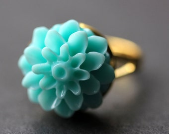Aqua Mum Flower Ring. Aqua Chrysanthemum Ring. Aqua Flower Ring. Adjustable Ring. Handmade Flower Jewelry.