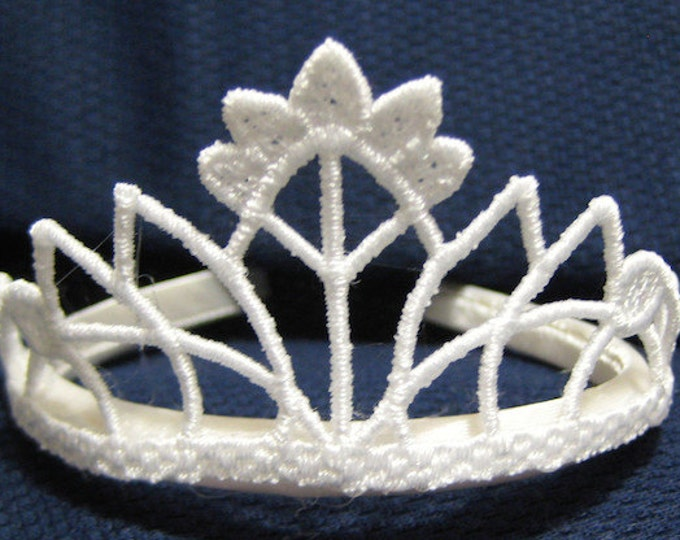 """FSL Tiaras   ( 5 """"Free Standing Lace"""" Machine Embroidery Designs x 2 sizes each  from ATW )"""
