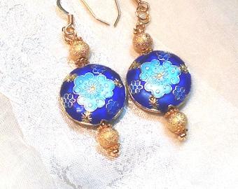 Upcycled Vintage Earrings Blue & Gold Tibetan Clouds Cobalt and Sky Blue Original Design