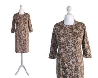 1960's Dress   Brown Vintage Dress   Sheath Dress   UK 14 Dress   Brown Print Dress   Fitted Dress With Front Peplum