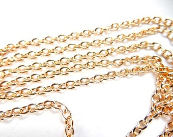 Light Rose Gold Plated Cable Chain Unfinished 5M - 22-25-4A