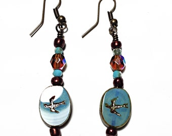 Etched Swallow Earrings