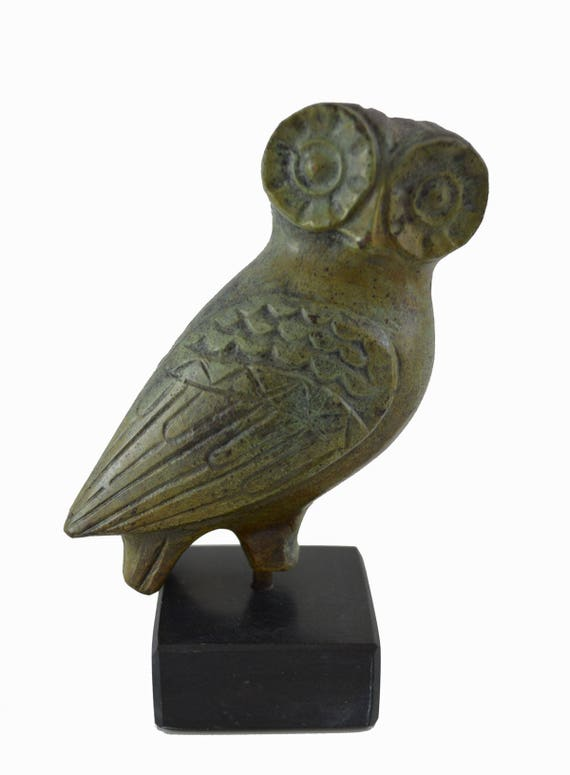 Owl sculpture ancient Greek miniature reproduction statue on marble