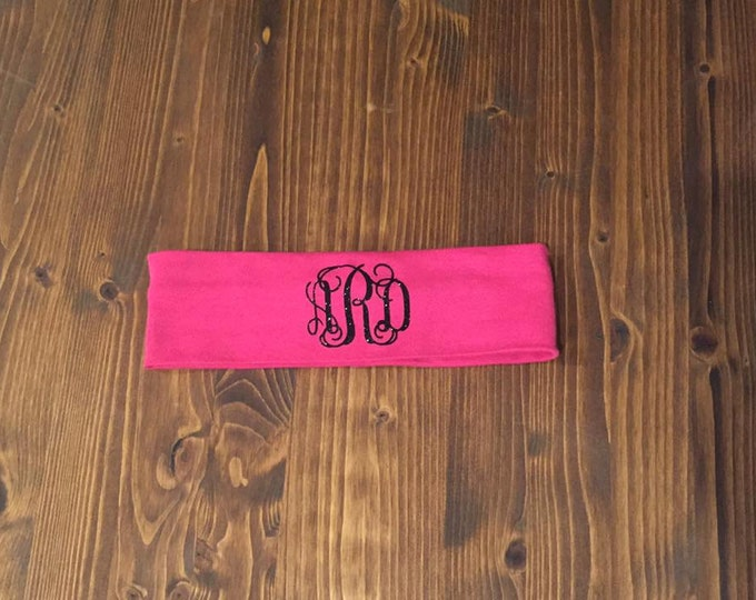 Custom CURLY monogram cotton knit headband-12 Colors