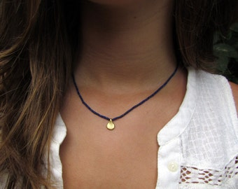 Lapis And A Gold Teardrop Necklace, Gold Necklace, Lapis Necklace, Tiny Lapis Necklace, Blue Necklace