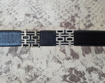 Silver loop or leather strip of 10 mm bronze